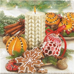 "Polish Folk Art Luncheon Napkins (package of 20) - ""Christmas Bounty"". Three ply napkins with water based paints used in the printing process."