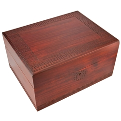 This is a simple yet gorgeous box! Handmade in Poland, this wooden box has a Greek keys design (also called meander) around the lid and base that make it a very elegant piece. This is also the correct size for holding the ashes of a loved one.