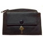 Handcrafted leather rosary purse. Two compartments, one zippered and on with a metal snap.