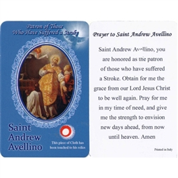 Saint Andrew Avellino is the Patron of those who have suffered a Stroke. This unique prayer card contains a third class relics on the front with the prayer on the back. The piece of cloth has been touched to his relics.