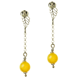 Custard amber dangle earrings with sterling silver posts.