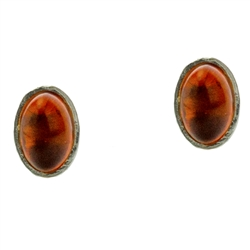 Honey amber oval earrings framed with Sterling Silver.
