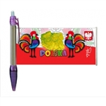 Enjoy this colorful ball point pen! Perfect for gifts. Features a pull out banner with a Polish paper cut design.