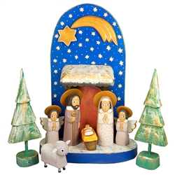 "The Holy Family and in particular the Nativity is a popular theme in Polish folk art. Composed of natural and hand painted wooden pieces. Tallest figure is approx 6"" tall. This is the work of folk artist Jerzy Zrbozek."