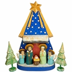 "The Holy Family and in particular the Nativity is a popular theme in Polish folk art. Composed of hand painted and carved wooden pieces. Tallest figure is approx 4.5"" tall. This is the work of folk artist Jerzy Zrbozek. All the figures are placed on the"