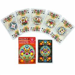 Delightful set of Polish playing cards featuring a large variety of Lowicz style paper cut designs. Made in Krakow.  Single deck of 55 cards.