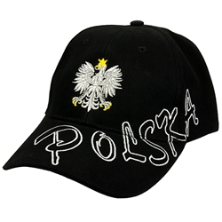 Stylish black cap with silver, gold and white thread embroidery. The front of the cap features a silver Polish Eagle with gold crown and talons. Features an adjustable cloth and metal tab in the back. Designed to fit most people.