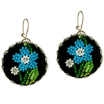 Lowicz style hand beaded earrings. Sterling silver findings.