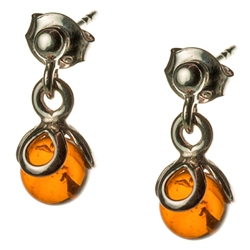 Round amber balls suspended in sterling silver.