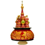 "This beautiful music box made in the shape of Saint Basil's Cathedral is constructed of seasoned Linden wood. Hand Painted. Winding the cathedral clockwise plays the popular Russian melody, ""Midnight In Moscow""."