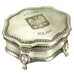 "Ornately decorated tin plated metal jewelry/pill box. Dark satin interior with a hinged top the center of which features the Polish Eagle. Size approx 3.5"" x 4"" x 1.75"""