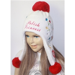 This attractive adult size snow bonnet make a perfect gift. Easy care acrylic knit fabric. One size fits most. Made in Poland.