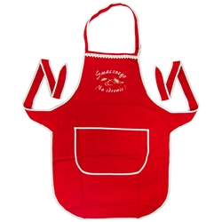 Just what every Polish chef needs: A vibrant red kitchen apron, with the words Smacznego and Na Zdrowie (Bon Appetit and To Your Health) embroidered in white on the front panel.