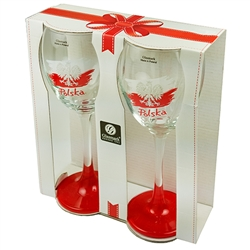 "Pair of Polish wine glasses in a gift box. Glasses are 8"" tall and made in Poland."