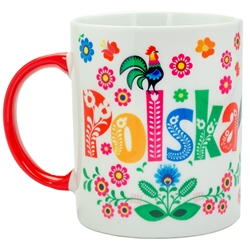 This colorful ceramic mug features beautiful Polish paper cut art . Dishwasher safe. Made In Poland. 300ml/10oz capacity.