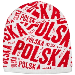 Display your Polish heritage! White and red stretch knit skull cap. Easy care acrylic fabric. One size fits most. Imported from Poland.