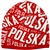 Display your Polish heritage! red and white stretch knit skull cap.  Easy care acrylic fabric. One size fits most. Imported from Poland.