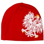 Display your Polish heritage! Red stretch skull cap with a large offset Polish Eagle.. Easy care polyester fabric. One size fits most. Imported from Poland.