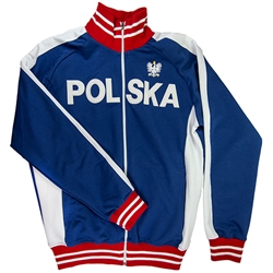 This comfortable lightweight and stylish zip up jacket in blue-as a main color- also has white and red stripes in the collar and sleeves. It features The Crowned White Eagle