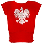 "Blouson style red t-shirt with a large metallic silver and white Polish eagle applique. Drop sleeves and side ruching at the bottom 7""."