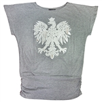 "Attractive grey t-shirt with a large reflective silver and white Polish eagle applique with a ruching base (7"" long).  90% cotton 10% polyester."