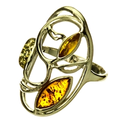 "Large artistic three stone amber ring. Sze approx 1.25"" x .75""."