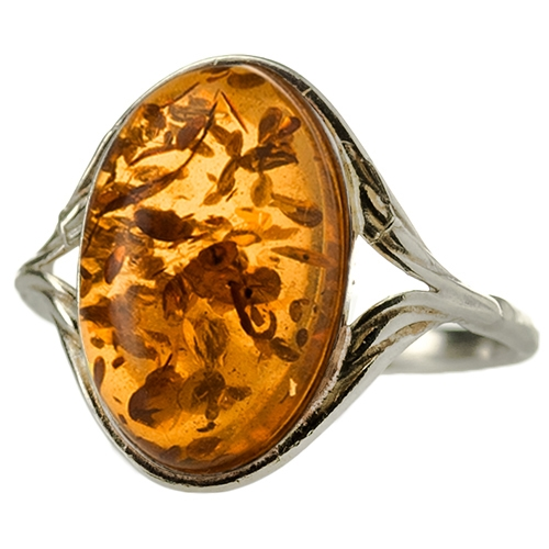 Honey Amber Sterling Silver Oval Ring nxcqP