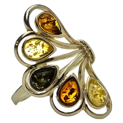 "Artistic 5 stone amber and sterling silver ring.  Size approx 1.25"" x .75""."