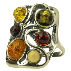 "Large artistic six stone amber ring set in sterling silver. Size approx 1"" x .75""."