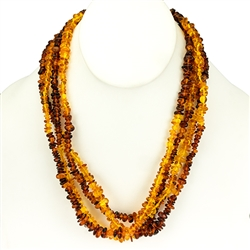 Lovely necklace composed of cherry, custard, light and dark honey amber. Irregular shaped amber bead size approx 6mm and smaller.  Perfect for doubling up once or twice to adjust for your preferred length.