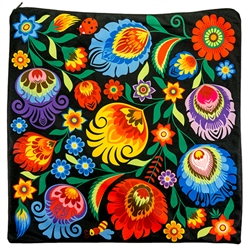 "Beautiful folk design pillow cover. 100% cotton and made in Poland. Zipper on one side. Size approx 14.5"" x 14.5"" - 37cm x 37cm."