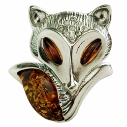 "This is a large adjustable ring. Fits a size 8 comfortably as is but can be expanded or contracted to fit larger or smaller size fingers. Once adjusted it should not be readjusted as silver is brittle. Fox size is approx 1.25"" x 1.25""."