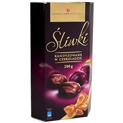 A Polish specialty. Deluxe candied dried plums (prunes) in dark chocolate. 30% cocoa minimum.