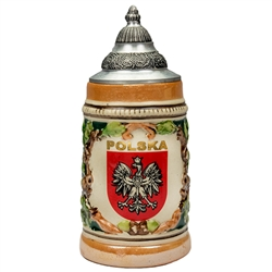 "This is a very handsome stein! What a great gift for any occasion! The Polish Eagle is proudly displayed in a crest with POLSKA (POLAND) in gold letters. This beautiful stein is hand made and painted. Approx 6"" tall."