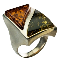 Men's Two Stone Multi Colored Amber Ring