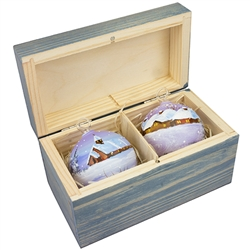 "Hand painted glass ornaments in a deluxe painted wooden box. Magnetized lid. Hand made so no two ornaments or boxes are exactly the same. Ornaments are approx 2.25"" in diameter."