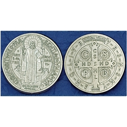Great for your pocket or coin purse. Add to a gift for that extra special touch! Saint Benedict - Pocket Token (Coin)