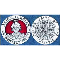 Saint Florian - Fire Fighters Red Enamel Pocket Token (Coin) Great for your pocket or coin purse.  Add to a gift for that extra special touch!  Saint Florian is the patron saint of firefighters.