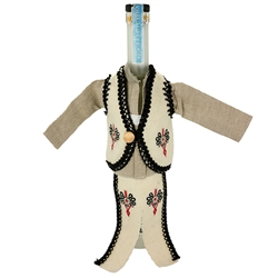 Hand sewn bottle cover of a Polish mountaineer's costume. The cover is designed to fit half liter and 750ml liquor bottles..