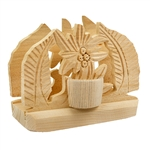 Made in Zakopane this type of four piece napkin holder is still in use in the villages and farms of southern Poland. Made of seasoned linden wood. Side holder is for toothpicks.