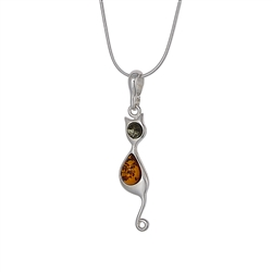 Our cute Kitty Cart pendant feature green and honey amber set in sterling silver.  Chain sold separately.