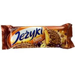 Jezyki is one of the most recognized and popular brands on the Polish confectionery market. Jezyki are unique biscuits with original shapes bristling with spikes that conceal a wealth of ingredients. Coated with Goplana milk chocolate, for years now they