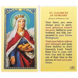 St. Elizabeth of Hungary - Holy Card.  Plastic Coated. Picture is on the front, text is on the back of the card.