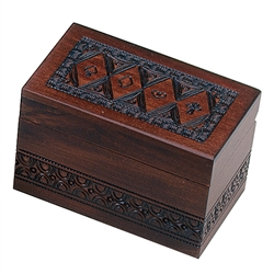 Holds two decks of cards. Walnut finish, card suit motif.