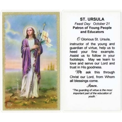 St. Ursula - Holy Card.  Plastic Coated. Picture is on the front, text is on the back of the card.