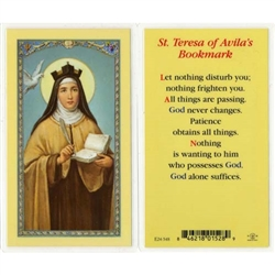 St. Teresa of Avila's Bookmark - Holy Card.  Plastic Coated. Picture is on the front, text is on the back of the card.