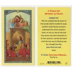 A Prayer for Member of Choirs - St. Cecilia - Holy Card.  Plastic Coated. Picture is on the front, text is on the back of the card.