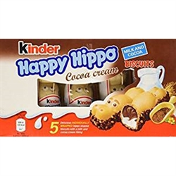 Delightful crispy wafer hippopotamus shaped biscuits with creamy milk and cocoa filling.