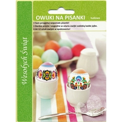 12 assorted color sleeves for raw, boiled, blown, or plastic eggs. Easy to do: 1. Cut film into 12 separate sleeves 2. Just slide the egg into a sleeve 3. Place into boiling water and it shrinks around the egg in seconds!!! NOTE: Due to the use of hot wat