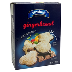 Delicious gingerbread sugar glazed on one side and chocolate covered on the other.  Filled with candied apple, orange peel, sour cherries, gooseberries and raisins.  Variety of shapes.